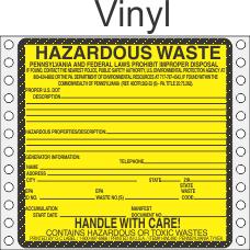 Hazardous Waste Pennsylvania Vinyl Labels HWL490PAV
