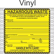 Hazardous Waste South Carolina Vinyl Labels HWL225SCV