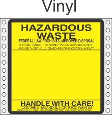 Hazardous Waste Vinyl Labels HWL160V