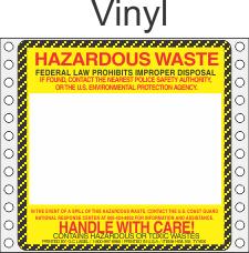 Hazardous Waste Vinyl Labels HWL165V