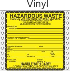 Hazardous Waste Vinyl Labels HWL200V