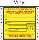 Hazardous Waste Vinyl Labels HWL320V