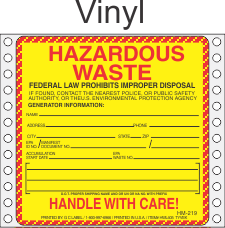 Hazardous Waste Vinyl Labels HWL405V