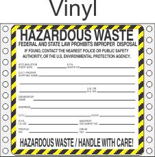 Hazardous Waste Vinyl Labels HWL410V