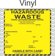 Hazardous Waste Vinyl Labels HWL440V