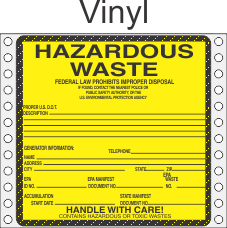 Hazardous Waste Vinyl Labels HWL450V
