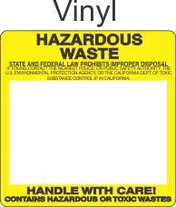 Hazardous Waste Vinyl Labels HWL804V