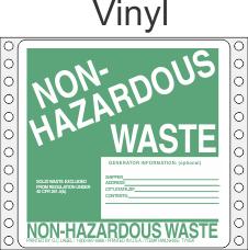 Non-Hazardous Waste Vinyl Labels HWL355V