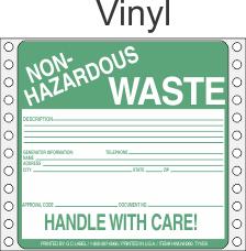 Non-Hazardous Waste Vinyl Labels HWL360V