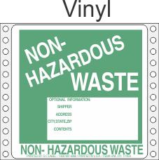 Non-Hazardous Waste Vinyl Labels HWL370V