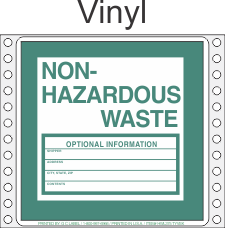 Non-Hazardous Waste Vinyl Labels HWL375V