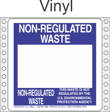 Non-Regulated Waste Vinyl Labels HWL250V