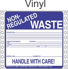Non-Regulated Waste Vinyl Labels HWL255V