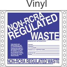 Non-Regulated Waste Vinyl Labels HWL265V