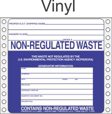 Non-Regulated Waste Vinyl Labels HWL270V