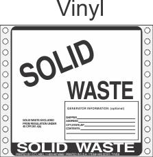 Solid Waste Vinyl Labels HWL315V