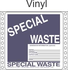 Special Waste Vinyl Labels HWL300V