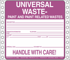 Universal Waste-Paint and Paint Related Vinyl Labels HWL619V