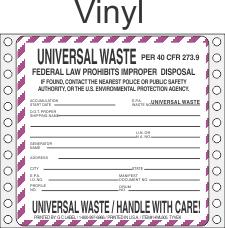 Universal Waste Vinyl Labels HWL605V