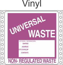 Universal Waste Vinyl Labels HWL615V