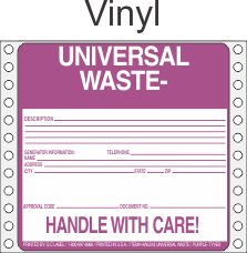 Universal Waste Vinyl Labels HWL618V