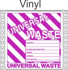 Universal Waste Vinyl Labels HWL626V