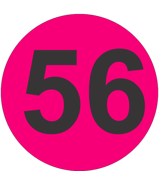 Number Fifty Six 56 Fluorescent Circle Or Square Labels