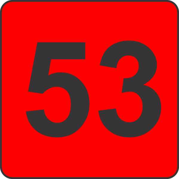 Number Fifty Three  53  Fluorescent Circle Or Square Labels