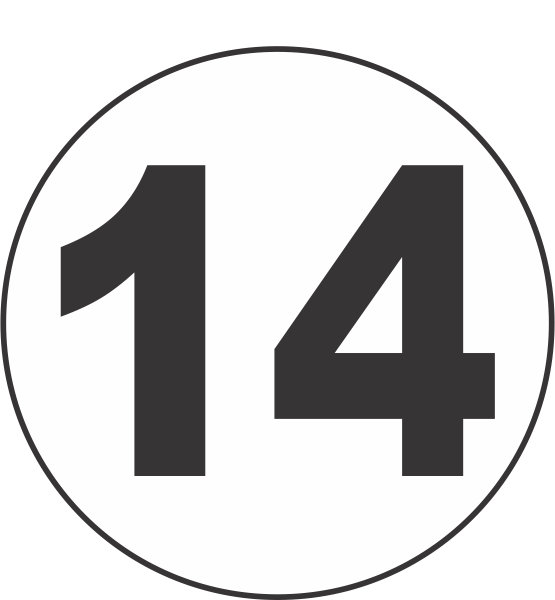 Number Fourteen 14 Fluorescent Circle Or Square Labels