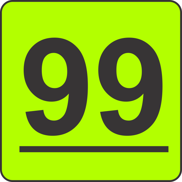 number ninety nine 99 fluorescent circle or square labels