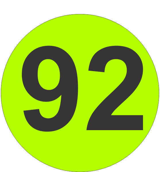 Number Ninety Two  92  Fluorescent Circle Or Square Labels
