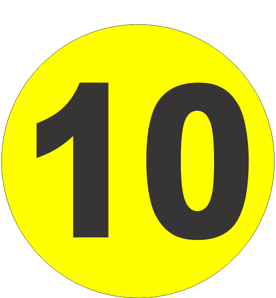 Number Ten 10 Fluorescent Circle Or Square Labels