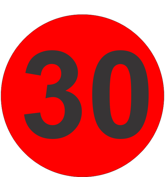 number thirty 30 fluorescent circle or square labels
