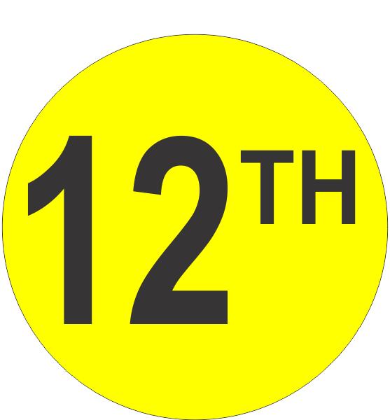 Twelveth 12th Fluorescent Circle Or Square Labels