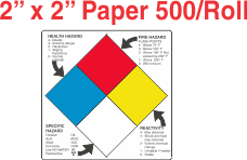 NFPA (National Fire Prevention Association) Paper 2x2 Labels With Descriptive Wording