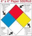 NFPA (National Fire Prevention Association) Paper 4x4 Labels With Descriptive Wording