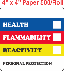RTK (Right to Know) Paper 4x4 Labels with a Personal Protection Box and one Health Box