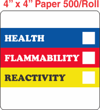 RTK (Right to Know) Paper 4x4 Labels without a Personal Protection Box and one Health Box