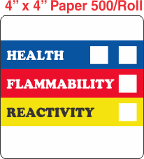 RTK (Right to Know) Paper 4x4 Labels without a Personal Protection Box and two Health Boxes