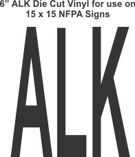 Die Cut 6in Vinyl Symbol ALKALI for NFPA (National Fire Prevention Association) for 15x15 Signs