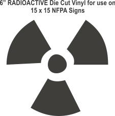 Die Cut 6in Vinyl Symbol RADIOACTIVE for NFPA (National Fire Prevention Association) for 15x15 Signs