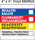 RTK (Right to Know) Vinyl 4x4 Labels with a Personal Protection Box and one Health Box (Bilingual)