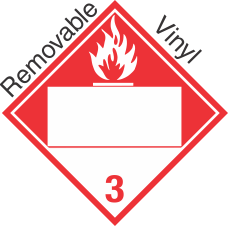 Blank Window Combustible Class 3 Removable Vinyl Placard