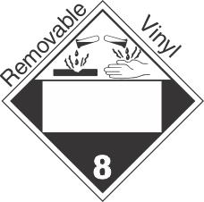 Blank Window Corrosive Class 8 Removable Vinyl Placard
