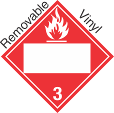 Blank Window Flammable Class 3 Removable Vinyl Placard