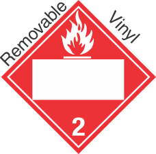 Blank Window Flammable Gas Class 2.2 Removable Vinyl Placard