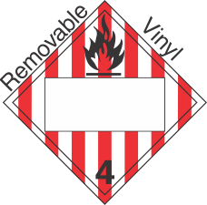Blank Window Flammable Solid Class 4.1 Removable Vinyl Placard