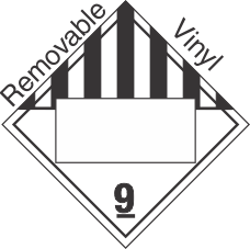 Blank Window Miscellaneous Dangerous Goods Class 9 Removable Vinyl Placard