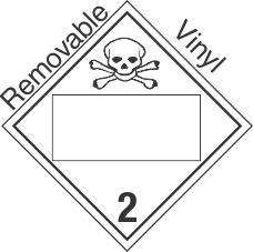 Blank Window Toxic Gas Class 2.3 Removable Vinyl Placard