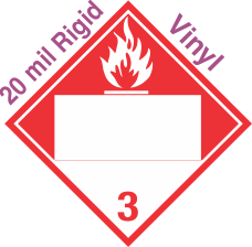Blank Window Combustible Class 3 20mil Rigid Vinyl Placard